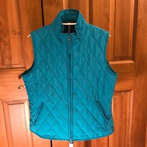 (R)elativity Petite Small Teal Quilted Vest Zip